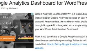 Google Analytics Dashboard for WP PlugIn