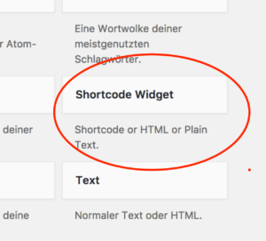 Shortcode Widget PlugIn
